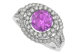 Double Halo Engagement Ring Amethyst and Cubic Zirconia