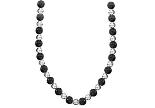 9c9de8ae16f 7 MM Beads Necklace with 9 MM Black Onyx Set on 14K White Gold Chain in 18  Inch Necklace