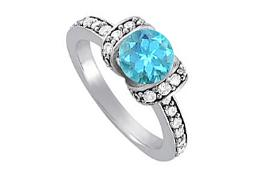 December Birthstone Blue Topaz and Cubic Zirconia Engagement Ring in 14K White Gold Cool Price