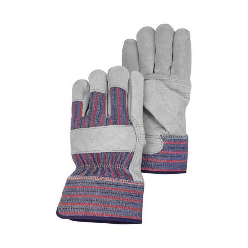 HandMaster 7503196 Mens Leather Palm Work Gloves - Pearl Gray Large