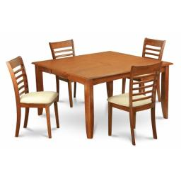 East West Furniture PFML5-SBR-C 5-Piece Parfait Square Table with 18 in. Butterfly Leaf & 4 Wood upholstered Seat Chairs in Saddle Brown Finish