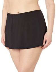 24th & Ocean Women's Plus Size Solid Skirted Hipster, Black//Solid, Size 22W