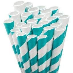 "Paper Drinking Straws 7.75"" 50/Pkg Aqua & White Striped"
