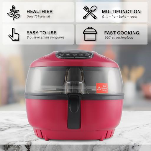 Della XL Large Digital Air Fryer Electric 10 Quart 1200W Portable Stirrer Rotisserie Oil Less Roaster Fry Food, Red LBMVKRVRU0MDQGDG