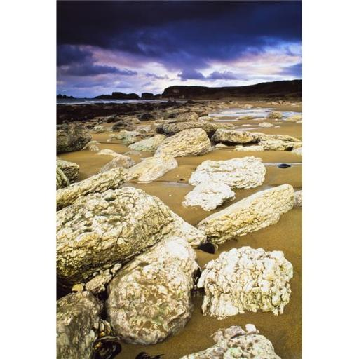 Posterazzi DPI1825635 White Park Bay County Antrim Ireland - Boulders Along The Beach Poster Print by The Irish Image Collection, 12 x 18