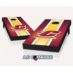 AJJCornhole 110-CentralMichiganStriped Central Michigan Flying Cs Striped Theme Cornhole Set with Bags - 8 x 24 x 48 in.