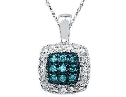 Blue and White Accent Diamond Pendant 1/10 Carat (ctw) in Sterling Silver with Chain