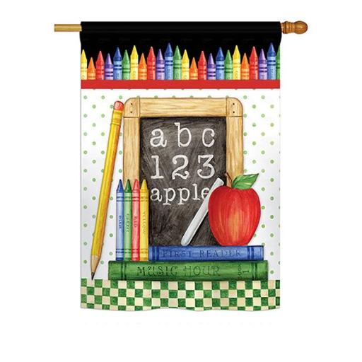 Breeze Decor BD-SE-H-115116-IP-BO-DS02-US School Chalk Board Special Occasion - Everyday School & Education Impressions Decorative Vertical House Flag