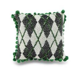 Green, Black and White Argyle Ball Fringe Accent Pillow 12.5 in.