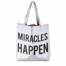 Cb Gift 172218 16 X 14.5 In. Miracles Happen Tote Bag - Metallic Platinum