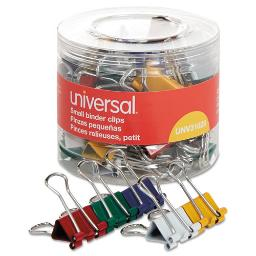 Universal 31028 Small Binder Clips, 3/8-Inch Capacity, 3/4-Inch Wide, Assorted Colors, 40/Pack