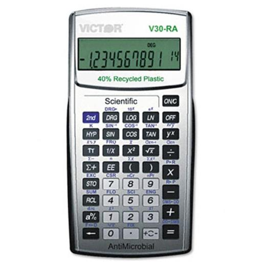 Victor V30RA 10-Digit LCD Scientific Calculator Antimicrobial and Recycled Plastic