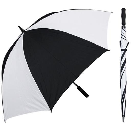 RainStoppers W005BLW 60 in. Black & White Single Canopy Golf Umbrella with Foam Handle, 6 Piece