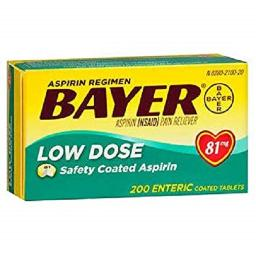 Bayer Low Dose 81 mg Safety Coated Aspirin Tablets, 200 Count