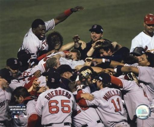 Red Sox Celebration after 2004 World Series Victory over the Cardinals Sports Photo