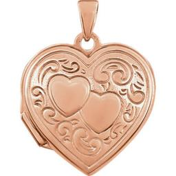 Stuller 21954-238965-P Rose Gold Plated Sterling Silver Double Heart Locket 21954:238965:P