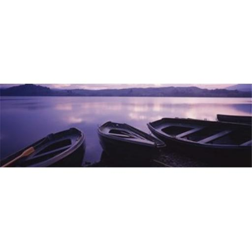 Panoramic Images PPI32157L Fishing boats moored in a lake Loch Awe Strathclyde Region Highlands Region Scotland Poster Print by Panoramic Images -
