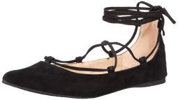 Steve Madden Womens Eleanorr Leather Pointed Toe Ankle Wrap Ballet Flats