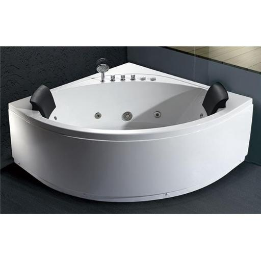 EAGO AM200 5 ft. Rounded Modern Double Seat Corner Whirlpool Bath Tub with Fixtures - White