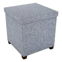Atlantic Storage Ottoman with Wooden Feet, 17 x 17 - Light Gray