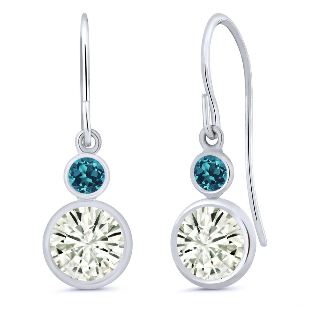 14K White Gold Dangle Earrings Forever Classic Round 1.60ct (DEW) Created Moissanite by Charles & Colvard and Topaz