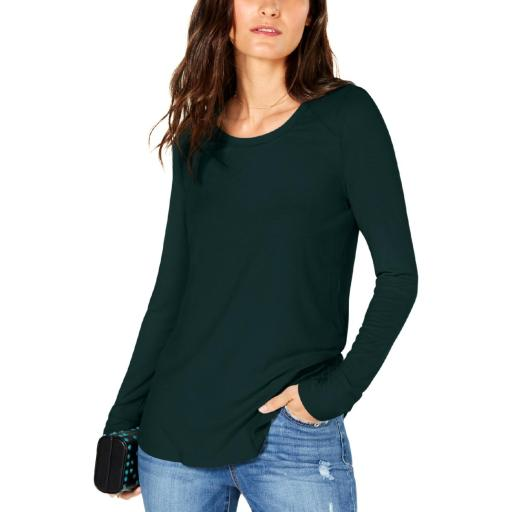 INC Womens Ribbed Jewel Neck Pullover Top