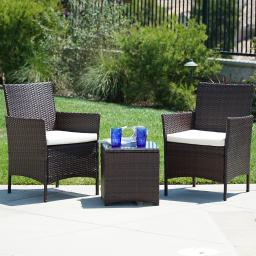 BELLEZE 3pc Outdoor Patio Furniture Wicker Cushion Seat Coffee Backyard Yard High-Backrest Bistro Set Glass Top Table Ch