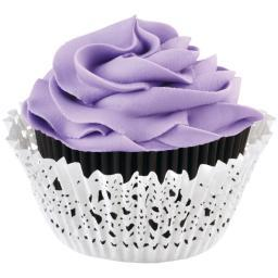 Doily Standard Baking Cup Kit-Black Inner Cup & White Outer Cup 24/Pkg 415-06-63