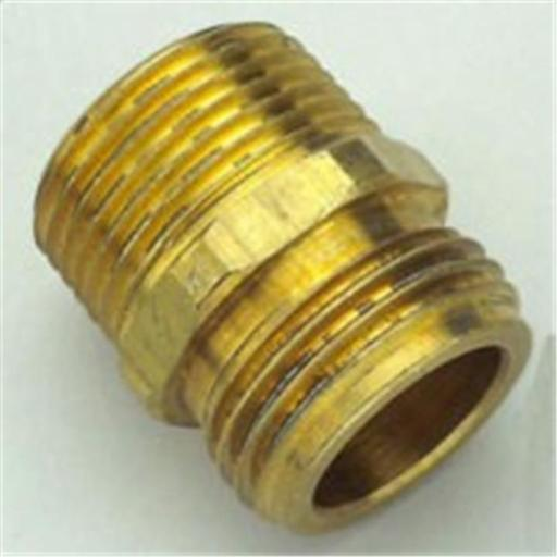 53038 Brass Hose To Pipe Fitting .75 Male Hose x .75 Male Pipe Thread x .5 Female Pipe Thread