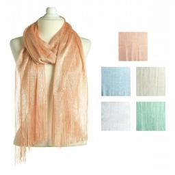 Scarf-Spring Glitter with Fringe-Peach - 18 x 72 in.
