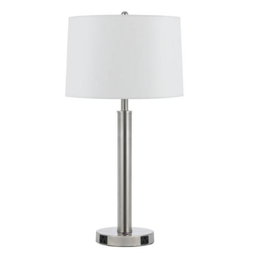 Cal Lighting LA-8020NS-1-BS 60W Metal Night Stand Lamp with Rocker Switch and 2 Outlets - 30 in.