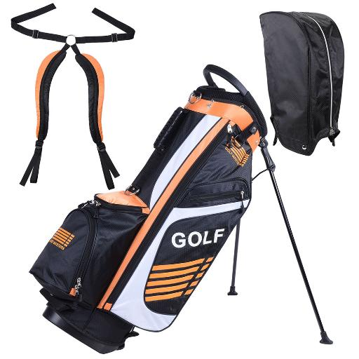 16x11x35' 600D Golf Stand Bag Orange Golf Carry Bag w/ 7 Pockets For Male Sport Golf Accessory