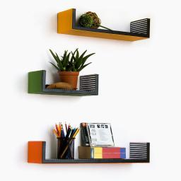 Groovy Colours U-Shaped Leather Wall Shelf / Floating Shelf (Set of 3)