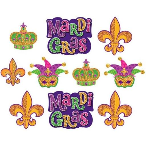 Amscan 193117 Mardi Gras Paper Cutout Assortment - Pack of 50