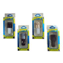 2 Slot Usb Car Charger In 4 Assorted Colors