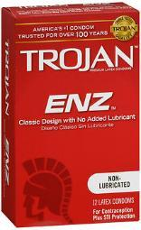 Trojan Enz Non-Lubricated Premium Latex Condoms - 12 ct CH90752