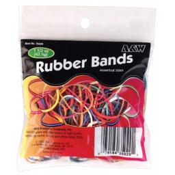 A & W Products 1.5 Oz Assorted Color Rubber Bands  35020.P - Pack of 12