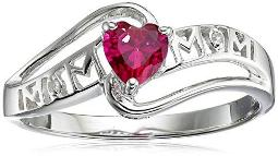 Created Emerald and Diamond Accent Mom Heart Ring in Sterling Silver, Size 8