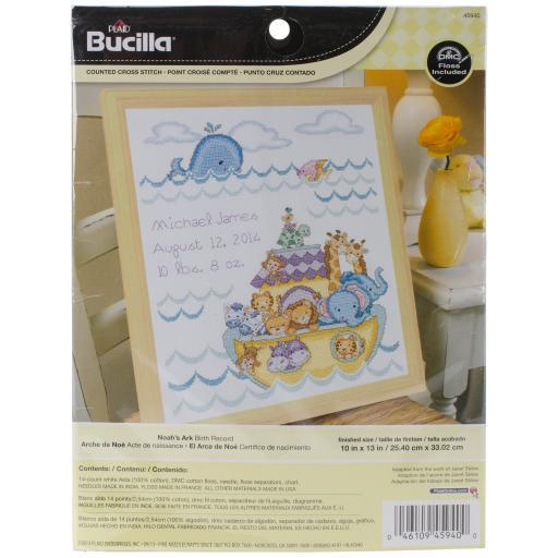 """Noah's Ark Birth Record Counted Cross Stitch Kit-10""""X13"""" 14 Count NGETGERO5ZM86G84"""