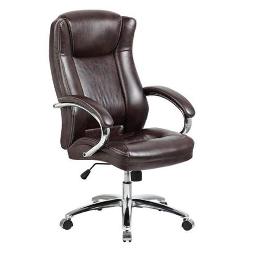 United Seating UOC-9042-1-BR Executive High-back Grey PU & PVC Leather Office Chair with Thick Padded Back & Seat with Chrome Base, Brown