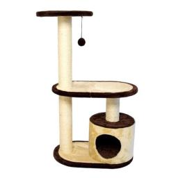 Iconic Pet 51523 Three Tier Cat Tree Condo with Multiple Posts - Beige, Brown