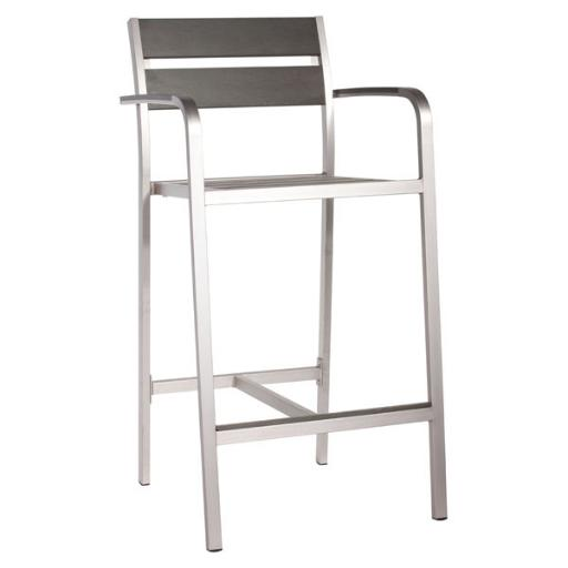 Zuo Bar Armchair in Brushed Aluminum - Set of 2