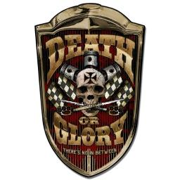Lethal Threat LETH171 24 x 36 in. Grill Death Or Glory Satin Plasma Metal Sign LETH171