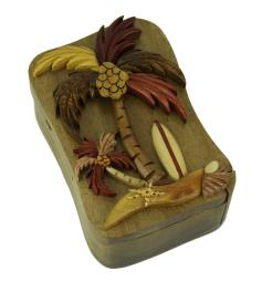 Hand Crafted Wood 3D Palm Tree Beach Puzzle Trinket Box PUZ086