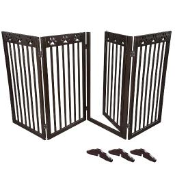 "80""x36"" 4 Panel Folding Pet Gate Wood Dog Fence Baby Safety Gate Playpen Barrier"