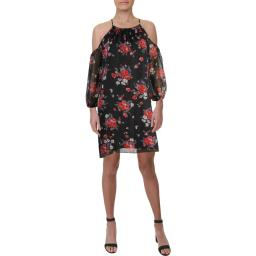 American Living Womens Floral Print Cold Shoulder Halter Dress