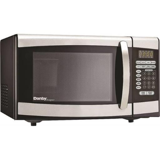 Danby Products 7998636 900W Microwave Oven, Stainless Steel .Features.Durable and stylish stainless steel exterior.10 power levels.Easy to read LED timer/clock.Right to left swing door.Specifications.Material:. Stainless Steel.Capacity:. 0.9 cu. ft..Voltage Rating:. 120V.Power Rating:. 900W.Frequency Rating:. 60 Hz.Weight:. 31.3 lbs.