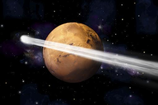 Artist's depiction of the comet C/2013 A1 making a close pass by Mars Poster Print YALHK80NJP77R68P