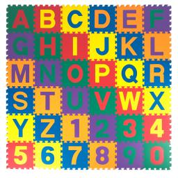 """Made in Taiwan,ASTM Standard, Kidzone 12""""x12"""" Kids Baby EVA Foam Play Mats, Alphabet ABC+Numbers Puzzle Non-Toxic 36 Pcs"""