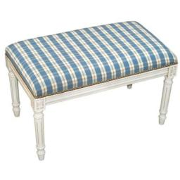 123 Creations C697WBC Plaid-Blue Fabric Upholstered Bench